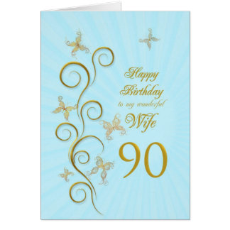 Wife 90th Birthday with golden butterflies Card