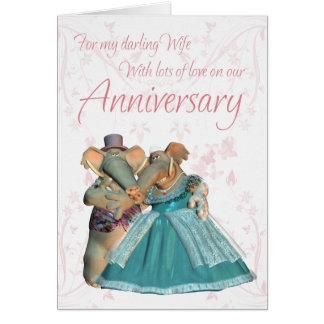 Wife Anniversary card with elephants