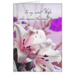 Wife Birthday Greeting Card With Cream Pink Lilies