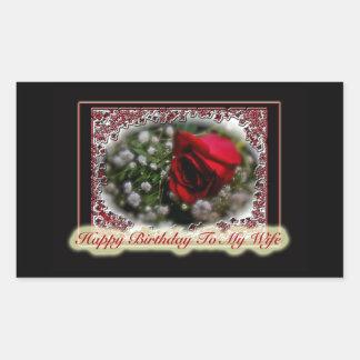 Wife Birthday Rose Baby s Breath Rectangular Sticker