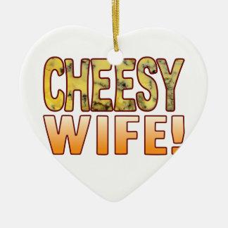 Wife Blue Cheesy Ceramic Heart Decoration