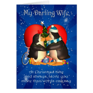 Wife Christmas Card With Kissing Penguins Heart An