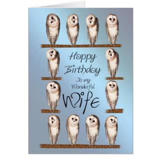 Wife, Curious owls birthday card. Card