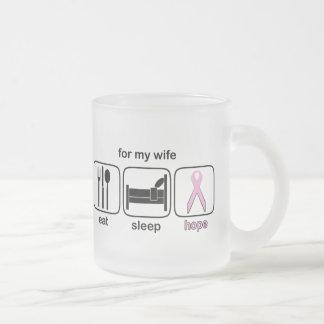 Wife Eat Sleep Hope - Breast Cancer Frosted Glass Mug