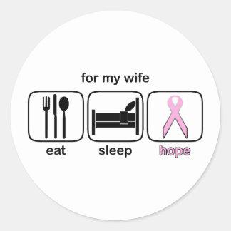Wife Eat Sleep Hope - Breast Cancer Round Sticker