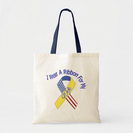 Wife - I Wear A Ribbon Military Patriotic Canvas Bag