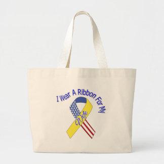 Wife - I Wear A Ribbon Military Patriotic Jumbo Tote Bag