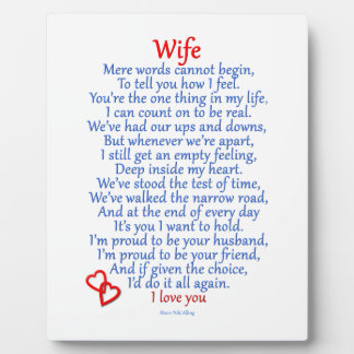 Wife Love Plaque