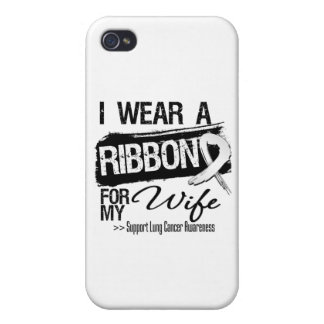Wife Lung Cancer Ribbon Cases For iPhone 4