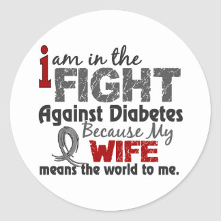 Wife Means World To Me Diabetes Classic Round Sticker