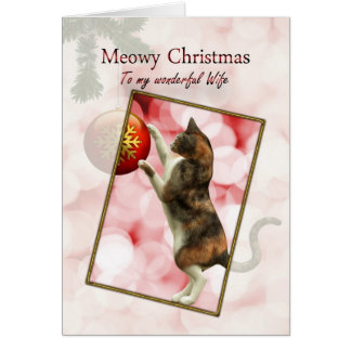 Wife Meowy Christmas with a playful cat Cards