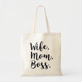 wife mom boss tote bag