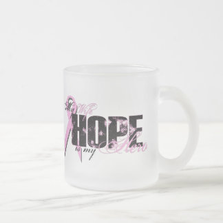 Wife My Hero - Breast Cancer Hope Frosted Glass Mug