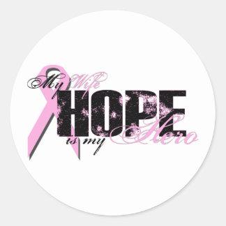 Wife My Hero - Breast Cancer Hope Round Sticker