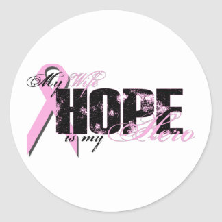 Wife My Hero - Breast Cancer Hope Stickers