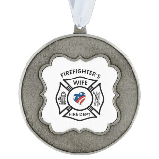 Wife Of A Firefighter Scalloped Ornament