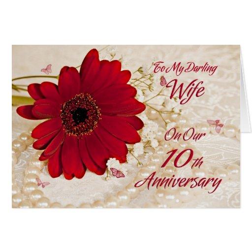 Wife on 10th wedding anniversary, a daisy flower greeting card