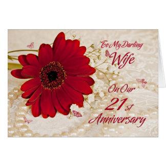 Wife on 21st wedding anniversary, a daisy flower card