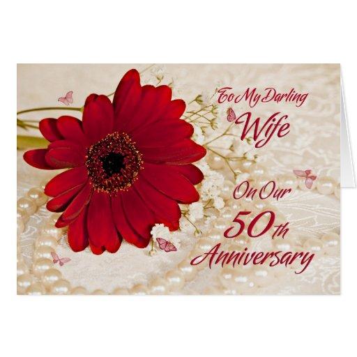 Wife on 50th wedding anniversary, a daisy flower greeting card