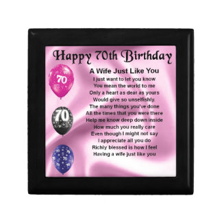 Wife Poem - 70th Birthday Small Square Gift Box