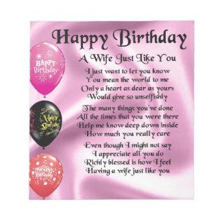 Wife Poem - Happy Birthday Design Notepad