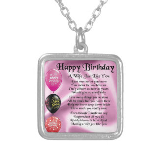 Wife Poem - Happy Birthday Design Silver Plated Necklace