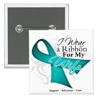 Wife - Teal Ribbon Awareness 15 Cm Square Badge