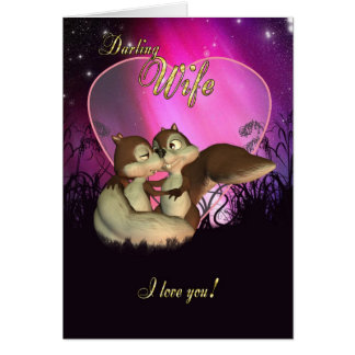 Wife Valentine's Day Card With Cute Love Squirrels