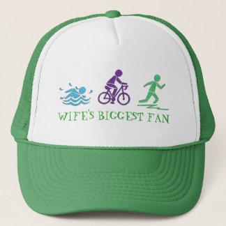 Wife's Biggest Fan Swim Bike Run Triathlete Race Trucker Hat
