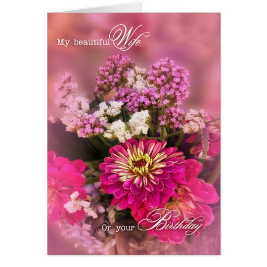Wife's Birthday Feminine Pink Floral Bouquet Card