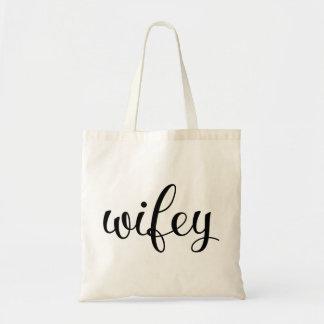 Wifey Bride Fancy Script Wedding Budget Tote Bag