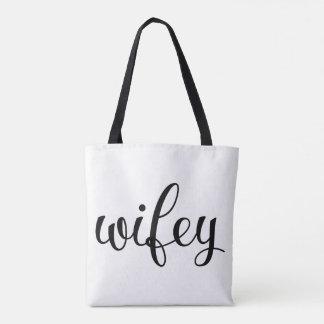 Wifey Fancy Script All-Over Print Tote Bag
