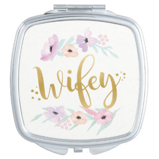 Wifey Gold Floral Bride-To-Be Gift Mrs Wedding Compact Mirrors