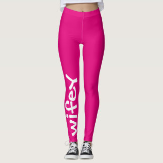 Wifey Hot Pink And White Cute Girly Chic Leggings