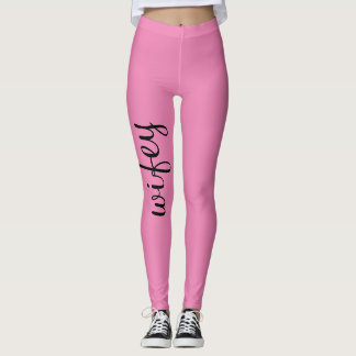 Wifey Pink Black Cute Girly Chic Trendy Unique Leggings