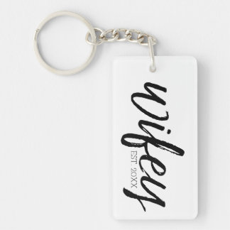 Wifey - Whimsical Black Calligraphy for the Bride Key Ring