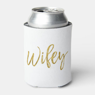 Wifey White and Gold Foil Can Cooler