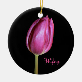 Wifey Wife Pink Tulips Flowers Floral Photos Round Ceramic Decoration