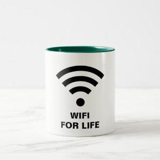 WIFI FOR LIFE Hunter Green 11 oz Two-Tone Mug