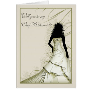 wil you be my Chief bridesmaid cream blends Greeting Card