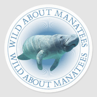Wild About Manatees Classic Round Sticker