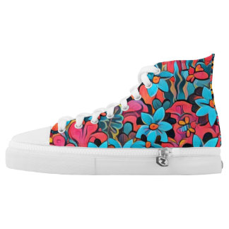 Wild Abstract Flowers High Tops