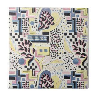 WIld Abstract in Pink and Blue Small Square Tile