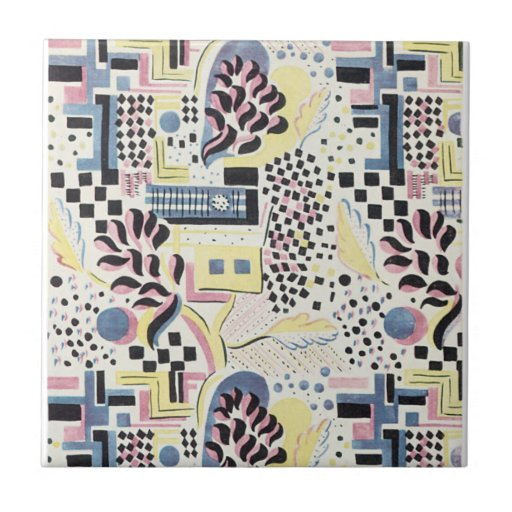 WIld Abstract in Pink and Blue Ceramic Tiles