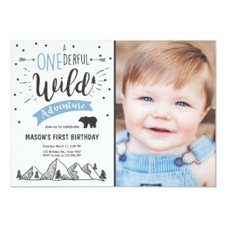 Wild adventure First birthday invitation one Blue