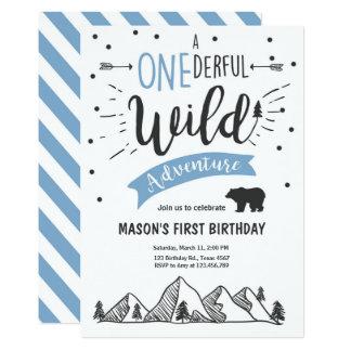 Wild adventure First birthday invitation one Blue