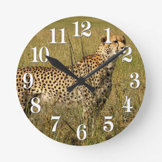 Wild African Cheetah in Savannah Grasses Round Clock