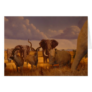 Wild African Elephants and Antelope Greeting Card