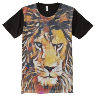 Wild African Lion Cubist Wildlife Painting All-Over Print T-Shirt