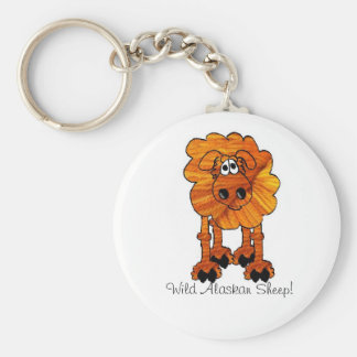Wild Alaskan Sheep Basic Round Button Key Ring